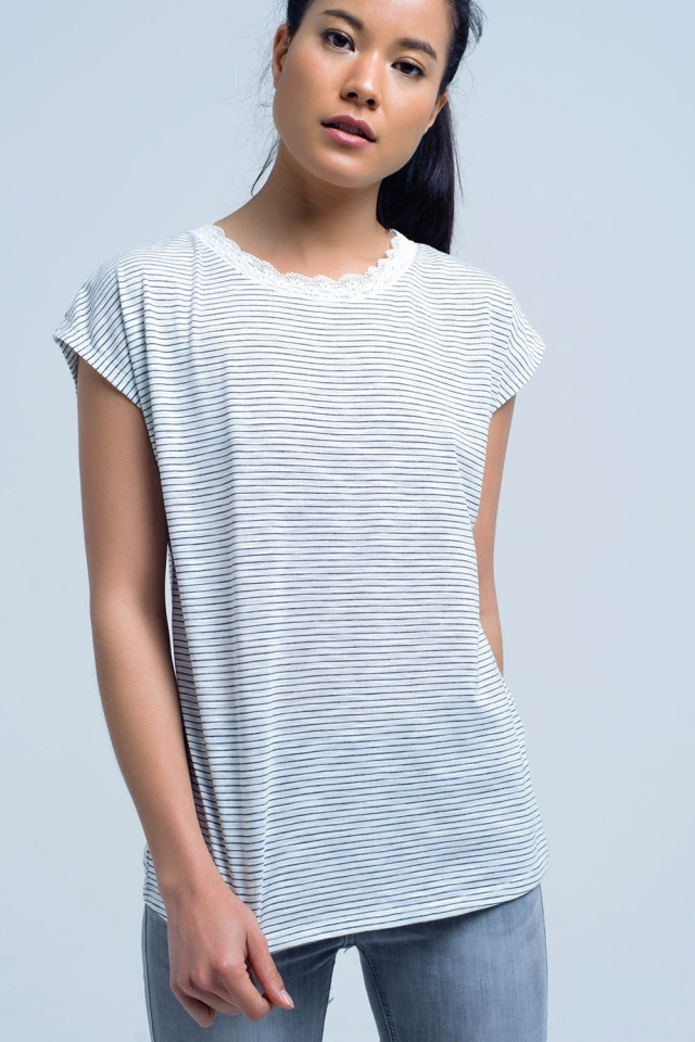 Black striped shirt with lace detail on the neck
