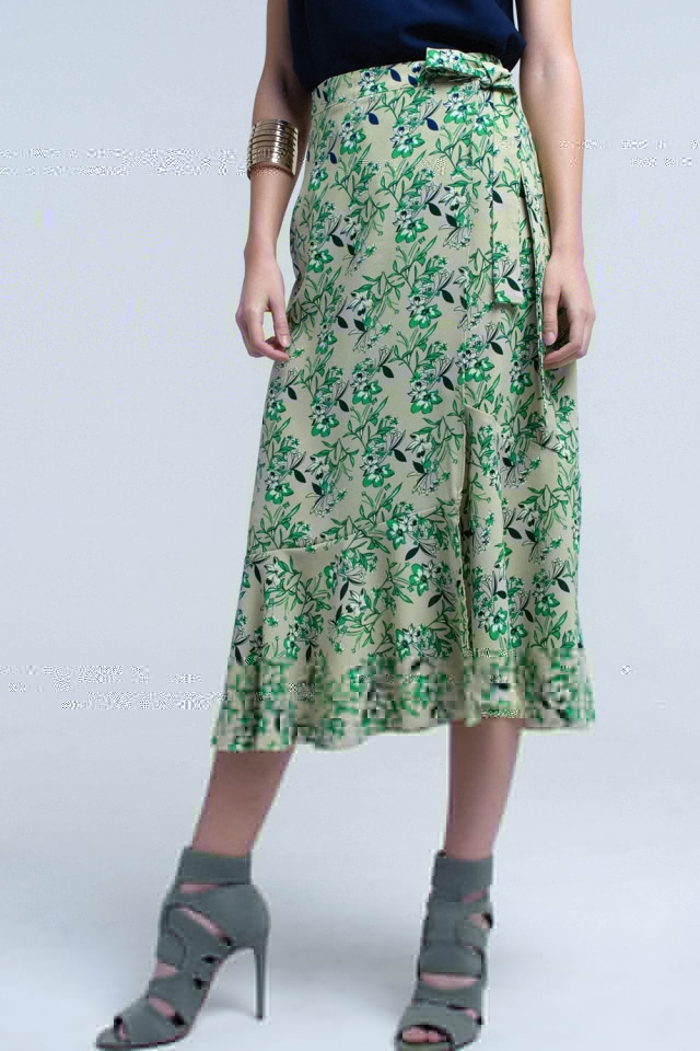 Green skirt with ruffles and printed flowers