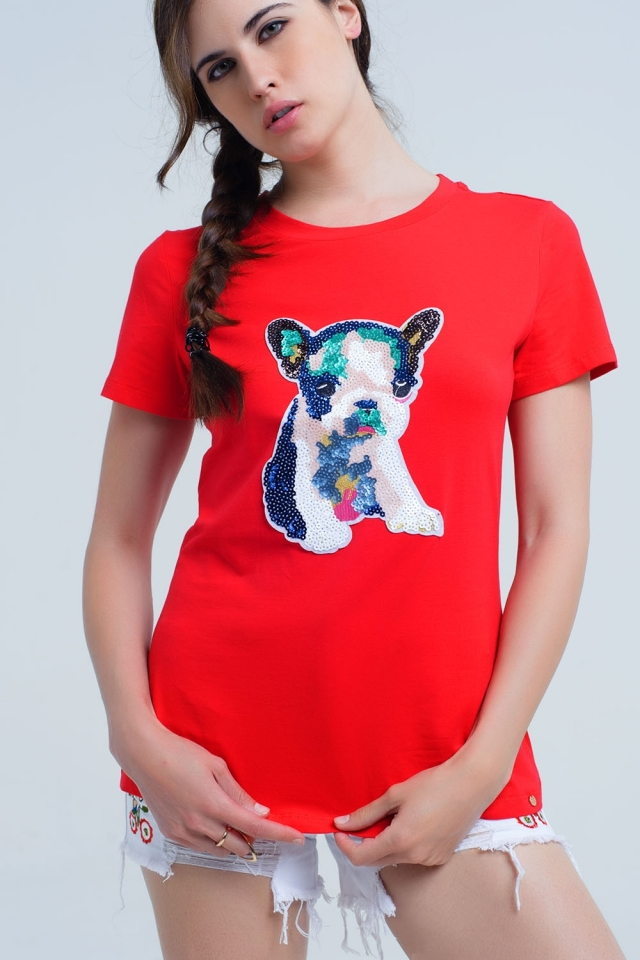 Red t-shirt with sequined dog