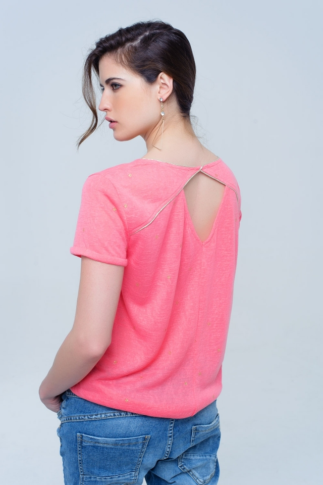 Coral t-shirt with golden stars