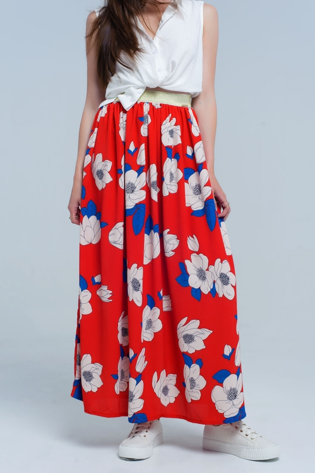 Red long skirt with printed flowers