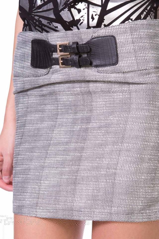 Boucle black mini skirt