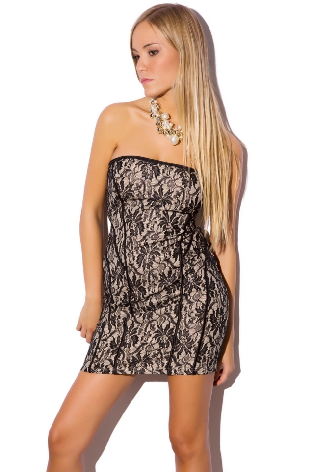 Zwarte kanten bodycon jurk