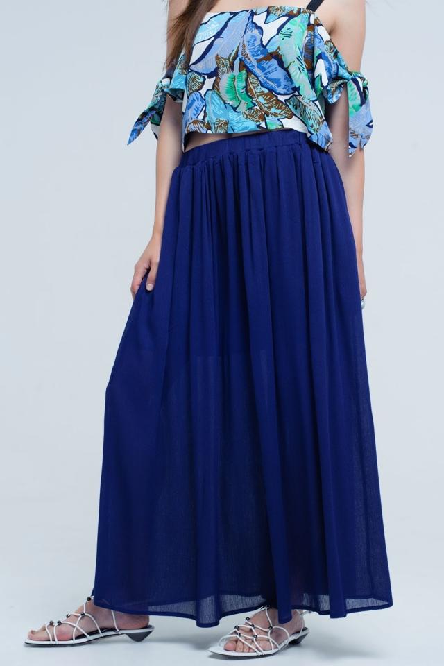 Navy maxi skirt with pockets