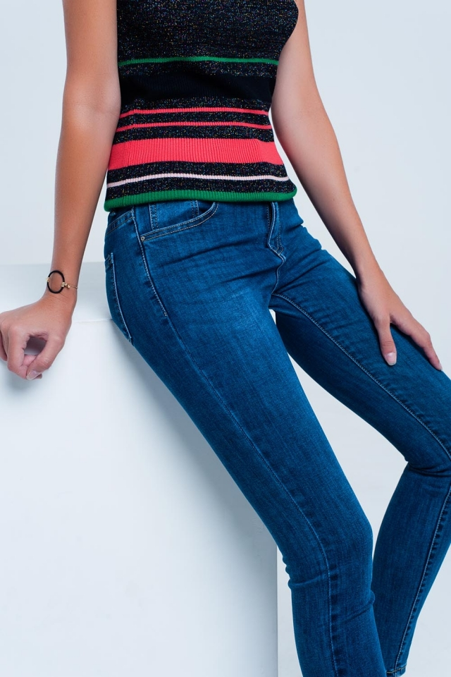 Dark blue basic fitted jeans