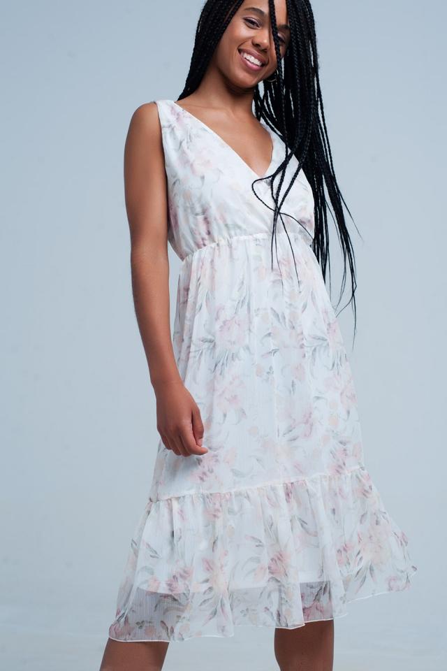 Chiffon Floral jurk met v-hals