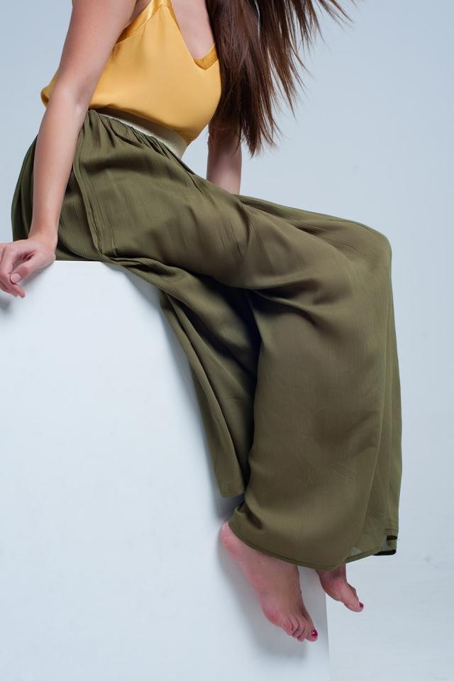 groene lange rok met elastiek in de taille