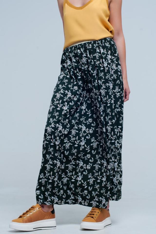 Lang groen rok met bloemmotief