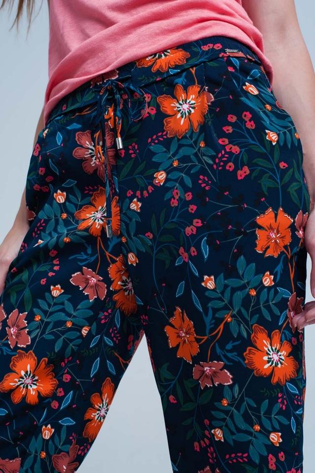 bloemenprint broek met stropdas taille
