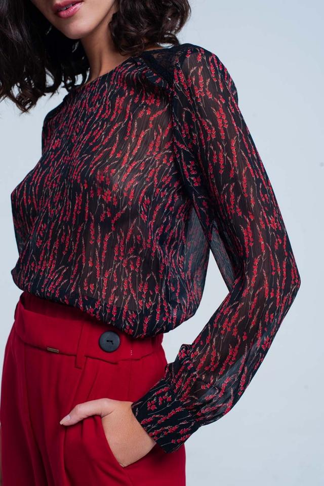 Rode bloemen print chiffon top