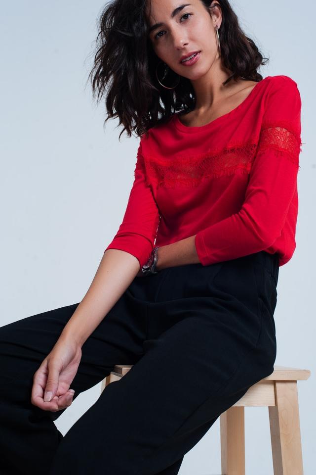 rood T-shirt met 3/4 mouwen met band van fijn kant