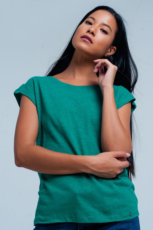 groene t-shirt met scoop hals