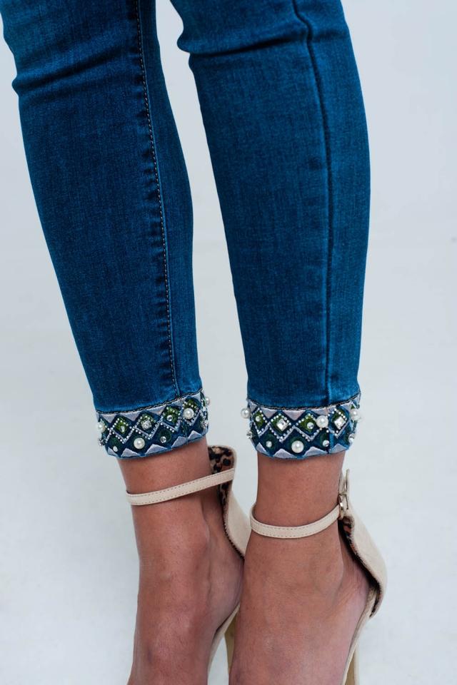 Skinny enkellange jeans met detail borduurwerk