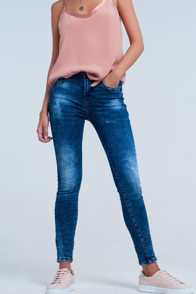 Skinny jeans met hoge taille met wassing