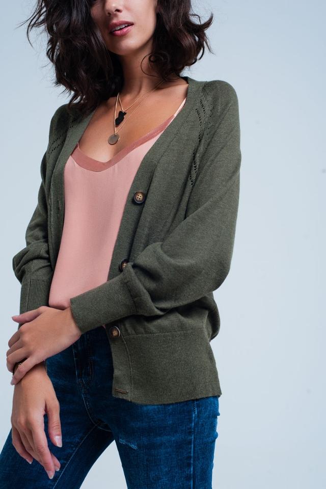 Groen Losgebreid vest met knoop