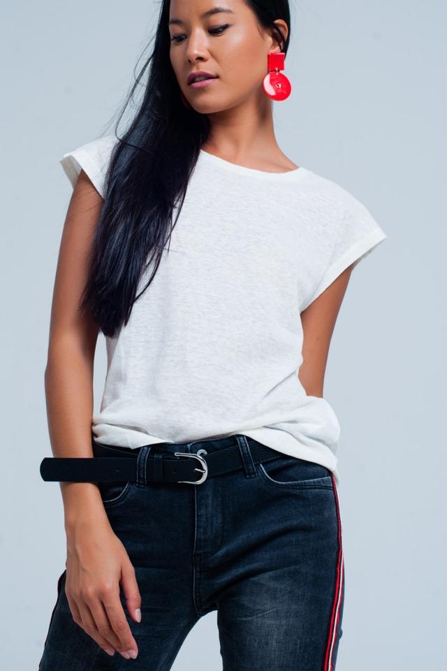 Wit T-Shirt met scoop hals