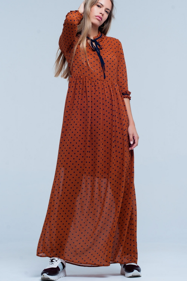 Oranje maxi dress met polka dot print