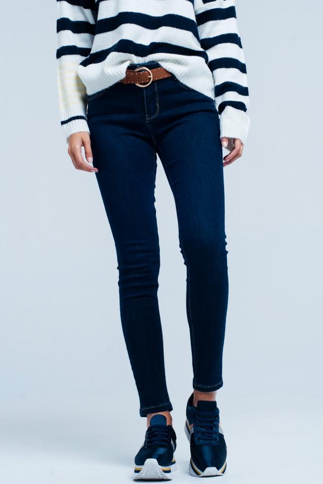 Dark wash jeans push-up met contrasterend stiksel