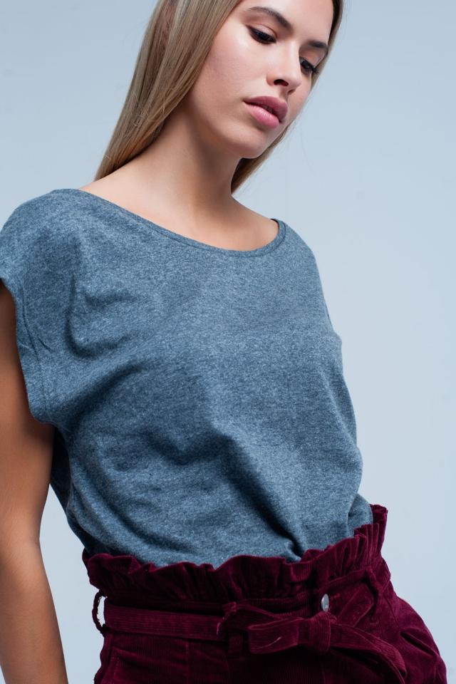 Grijs T-shirt met scoop hals