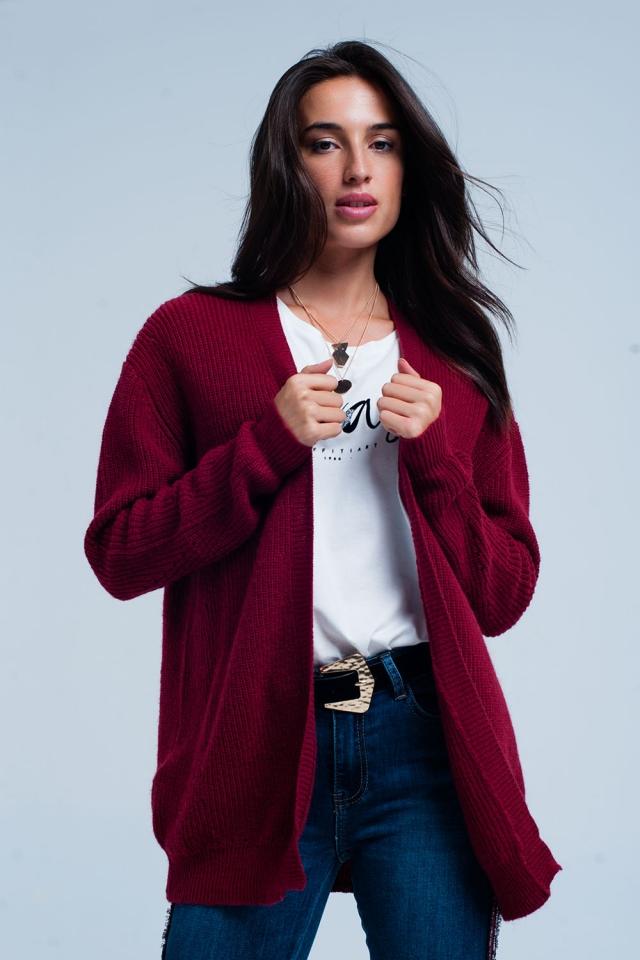 Bordeaux Rood vest van Angora wol met lange mouwen