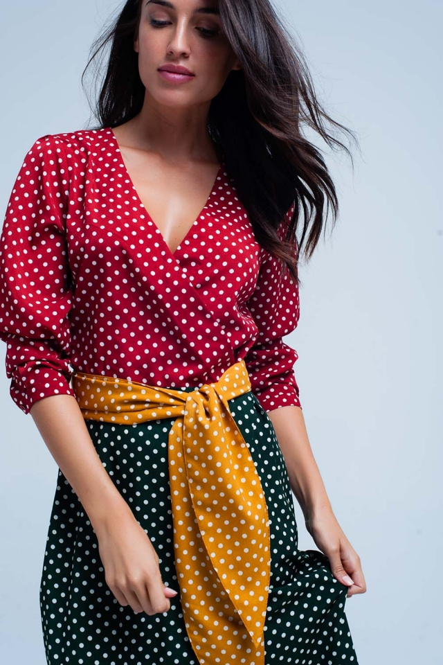 Red wrap front midi dress in polka dot print