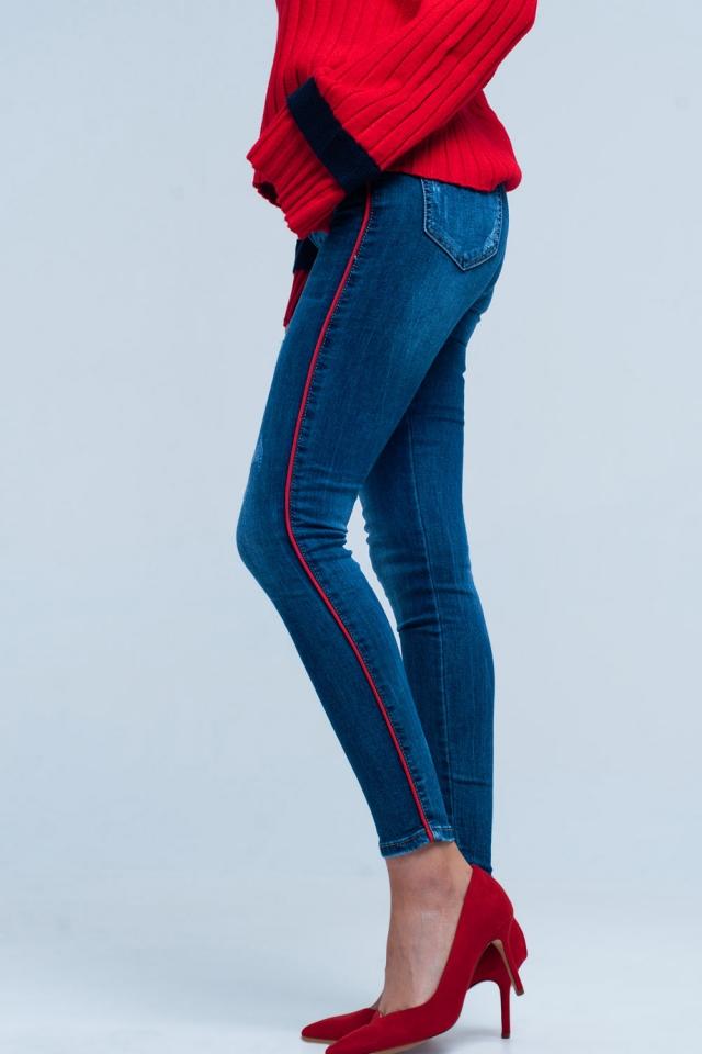 Blauwe skinny jeans met rode zijstreep