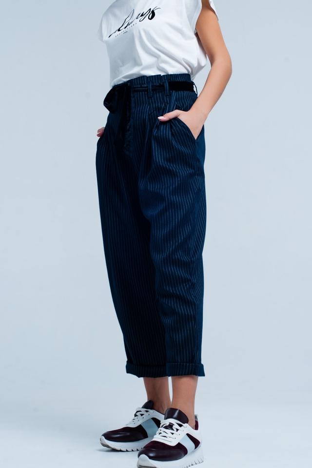 Donkergrijze hoge taille gestreepte broek