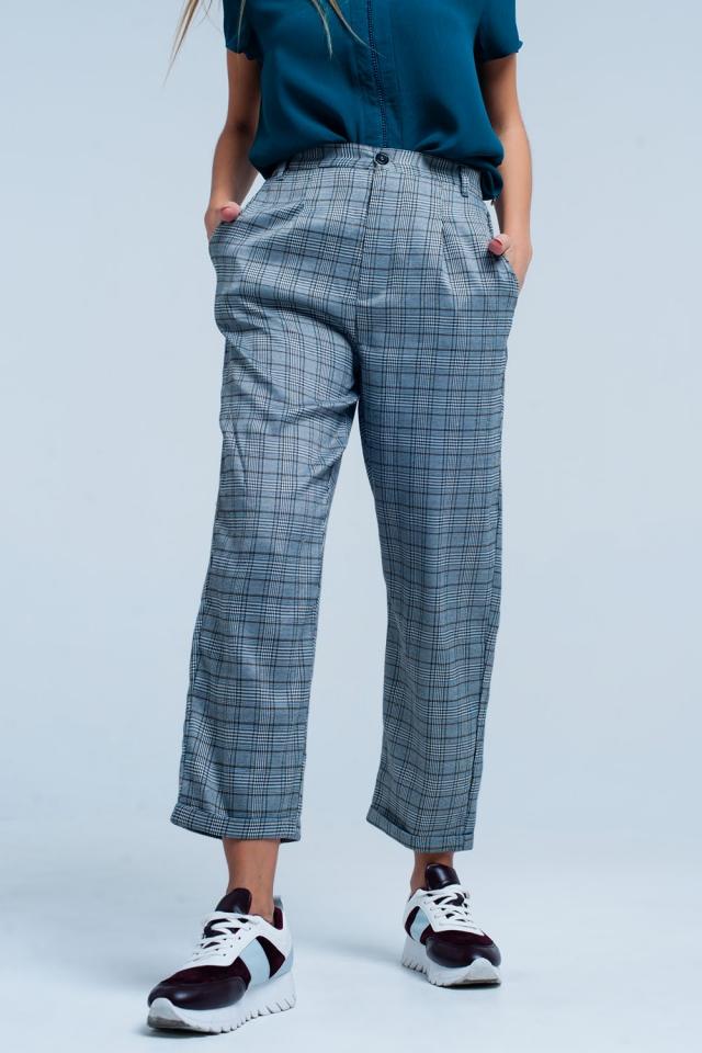 Grijs Geruite broek met rekband