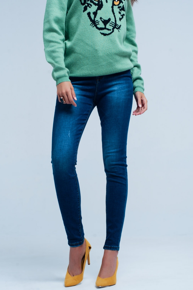 Donkerblauwe licht beschadigde Skinny Jeans