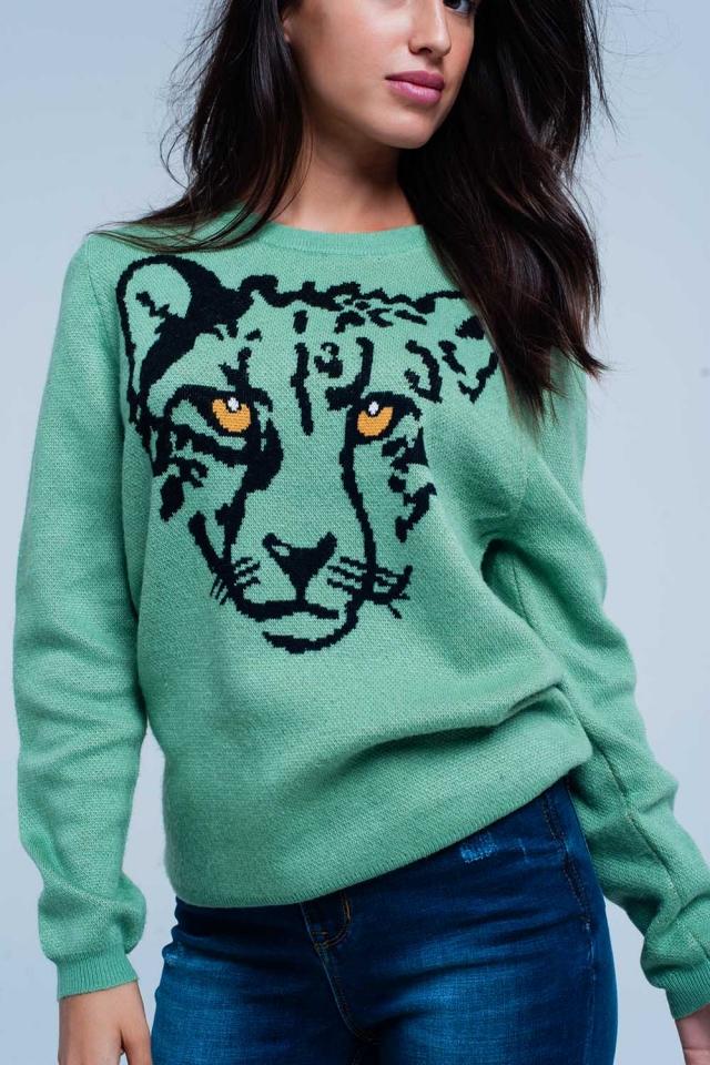 Lichtgroene Sweater met Panter