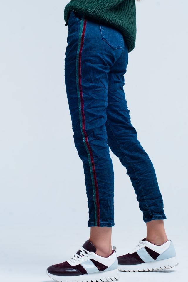 Blauwe Baggy Jeans met zijstrepen