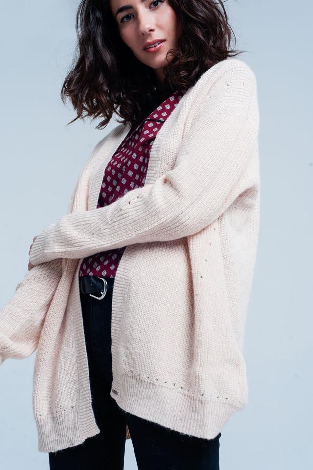 Roze vest van Angora wol met lange mouwen