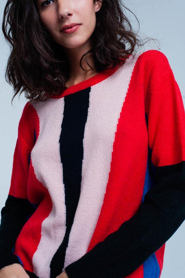 Rode trui met kleurblokken