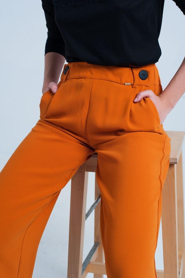 Oranje Wijdvallende Broek met Knopen