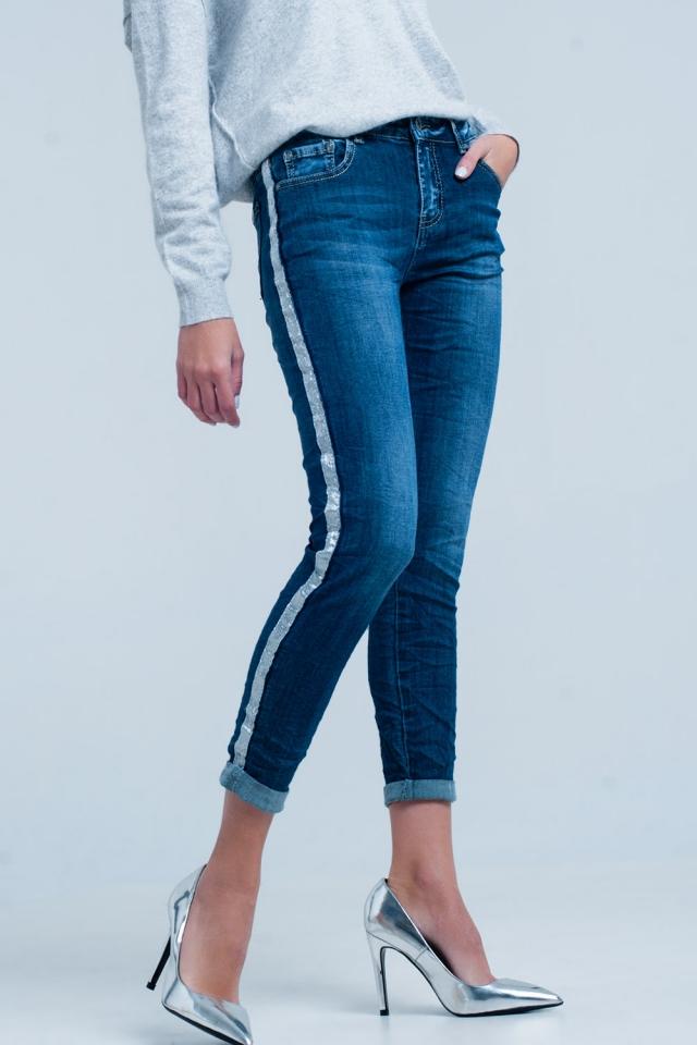 Donker Gewassen Jeans met Glanzende Zilveren Zijstreep