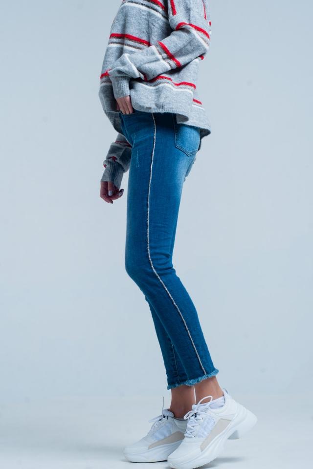 Gerafelde Skinny Jeans met Strass Zijstreep