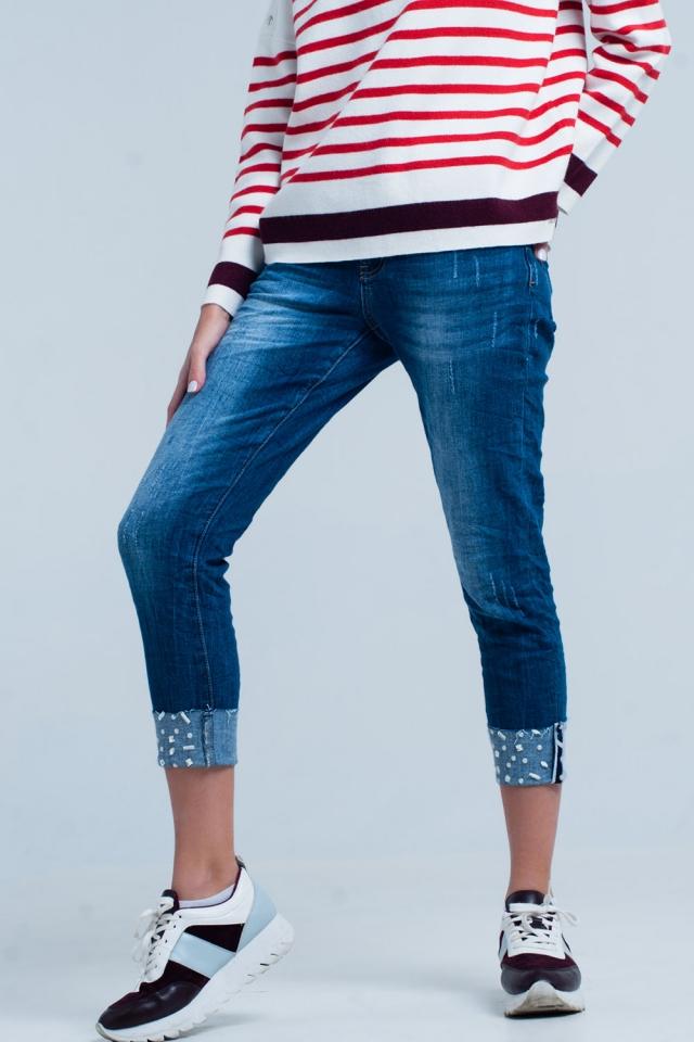 Jeans met Omgevouwen Enkels met Strass