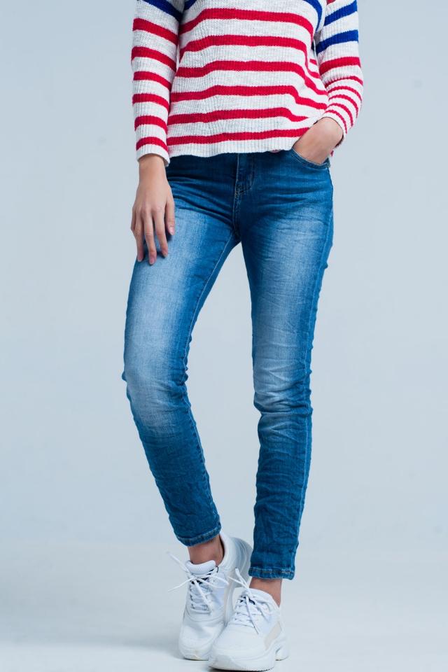 Donkere Wassing Gekreukte Skinny Jeans