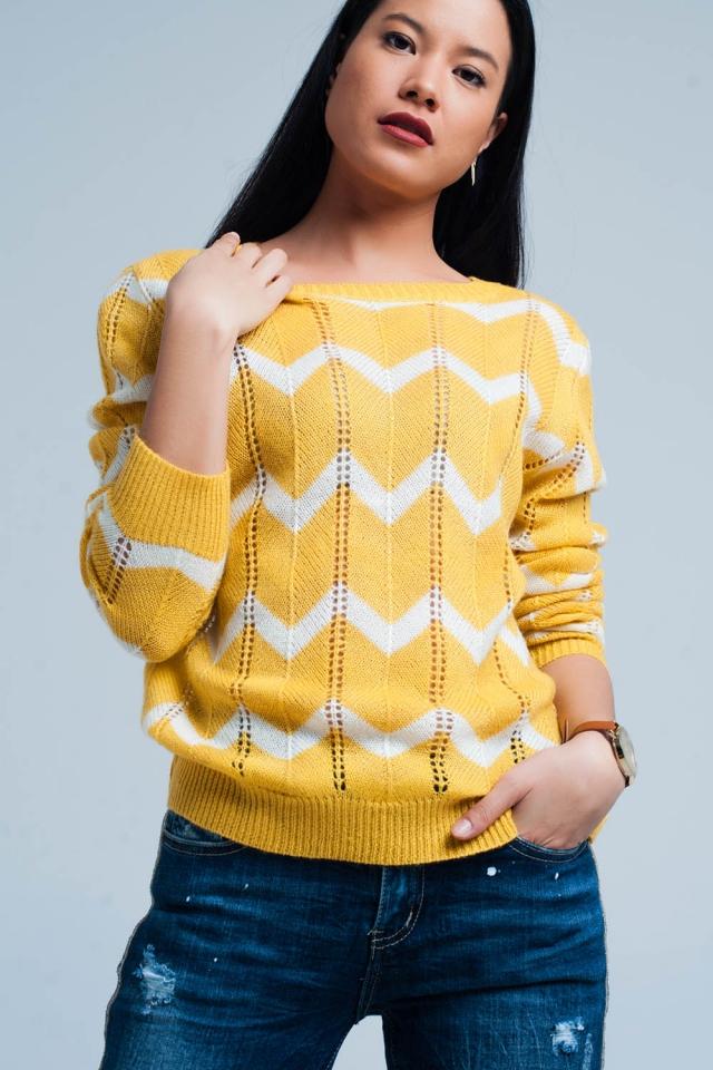 Gele Glitter Trui met Zwarte Zigzag Patroon