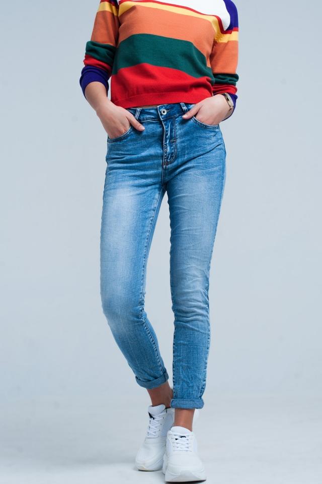 Gerafelde Skinny Jeans Lichte Wassing