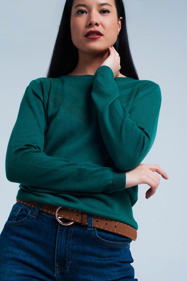 Groene Wollen Trui met Textuur Detail