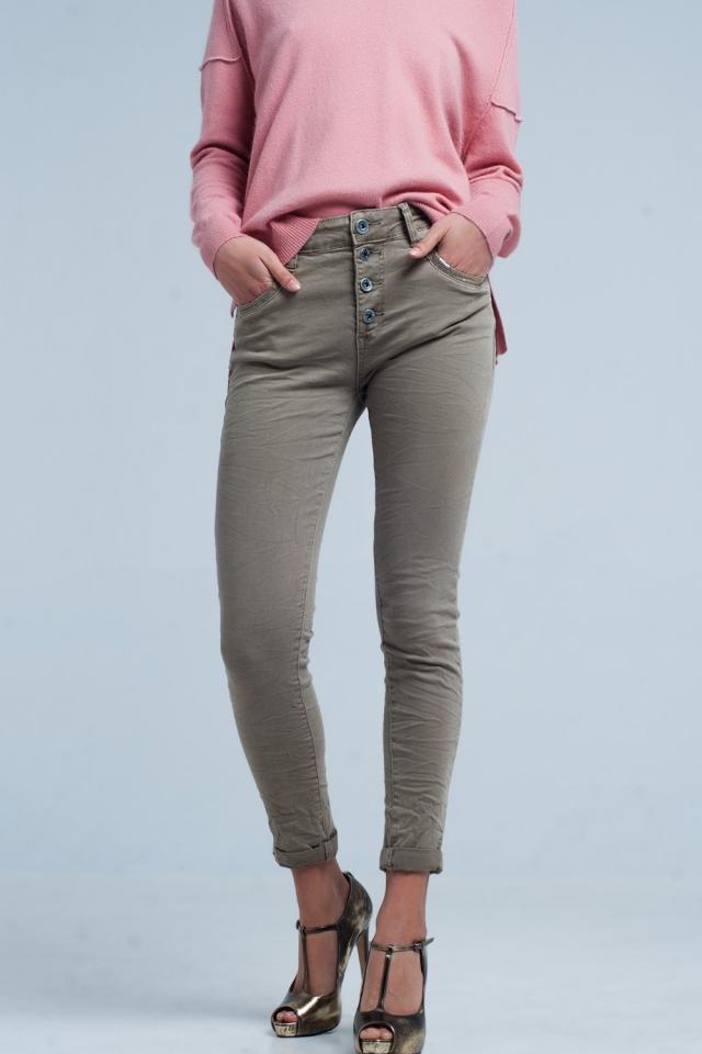 Khaki Boyfriend Jeans met Pailletten