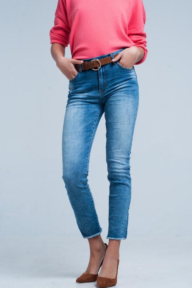 Gerafelde Skinny Jeans Medium Wassing