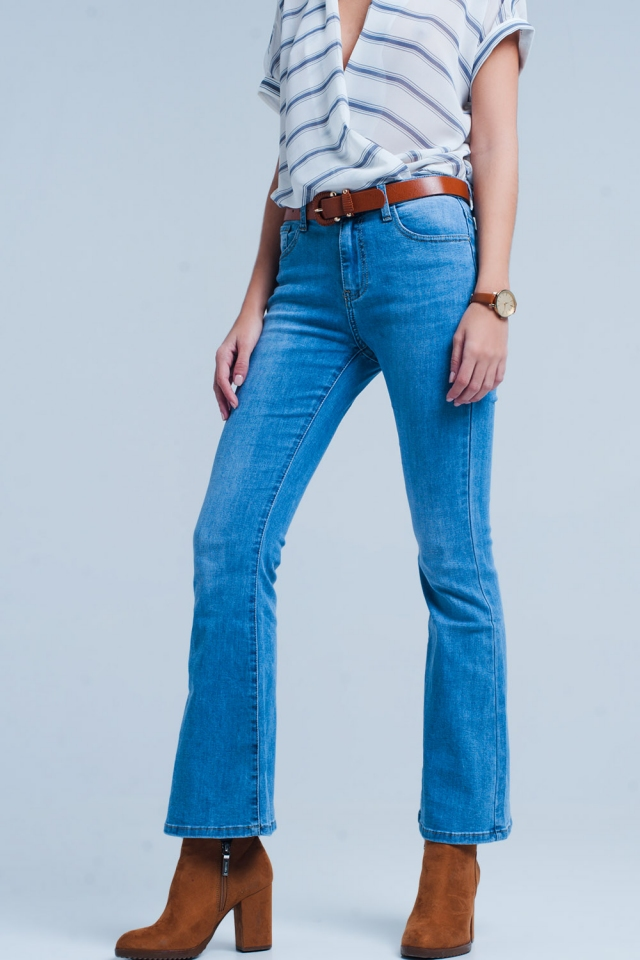 flare jeans in mid-blauwe wassing