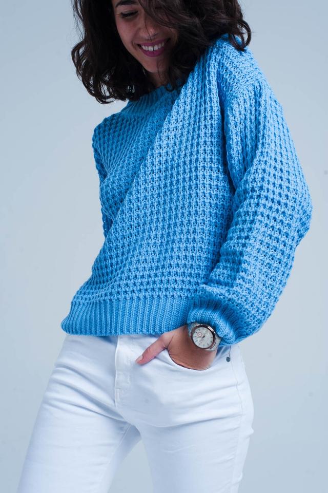 Blauwe Grofgebreide trui met wafeltextuur