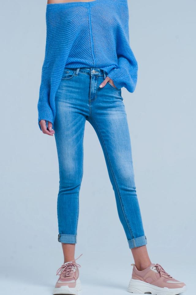Skinny jeans met hoge taille met Luipaard detail