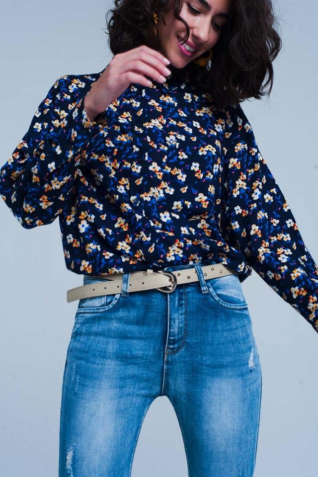 Blauwe Overhemd met bloemenprint lange mouwen