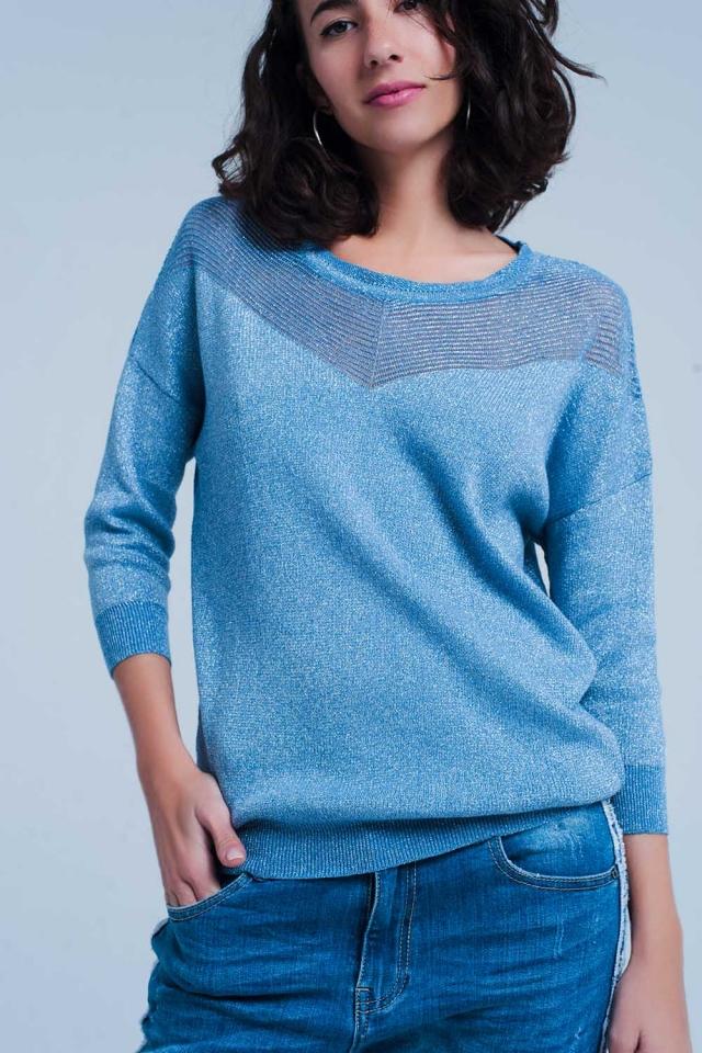 Blauwe Gebreide trui met metallic accenten
