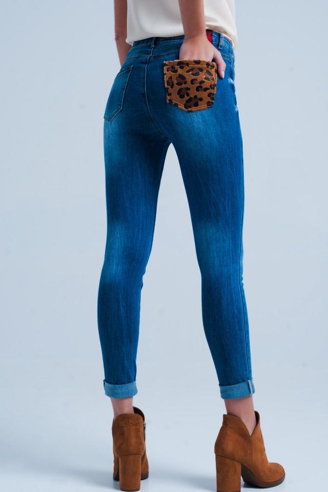 Skinny jeans met Luipaard zak detail