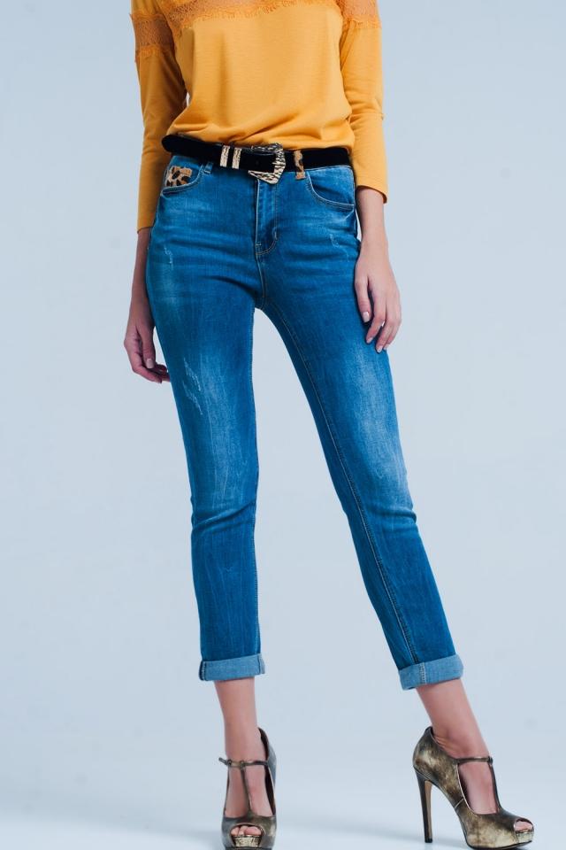 Skinny jeans met Luipaard detail